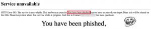 phishing - warm page